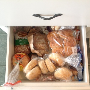 Mom's bread drawer May, 2015